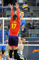 Jose Francisco Ruiz, Toncek Stern during the European Championship game Spain - Slovenia on August 24, 2017 in Krakow, Poland. (Photo by Krzysztof Porebski / Press Focus)
