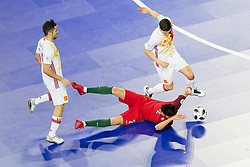 Andre Coelho of Portugal and Ortiz of Spain during futsal match between Portugal and Spain in Final match of UEFA Futsal EURO 2018, on February 10, 2018 in Arena Stozice, Ljubljana, Slovenia. Photo by Urban Urbanc / Sportida