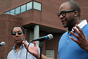 21 July 2011- Harlem, NY- l to r: Max Rodriguez, founder, Harlem Book Fair, Munson Steed, Publisher, Rolling Out Magazine at the 2011 Harlem Book Fair held along West 135th Street and at The Schomburg Center on July 23, 2011 in the village of Harlem, USA. Photo Credit: Terrence Jennings