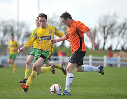 Straide &amp; Foxford United's Paul Moran takes on Charlestown Donal Gavagan during the Connaught Sheild final at milebush on sunday last.<br /> Pic Conor McKeown
