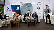 (L-R) Jerzy Raducha  (City Hall of Szczecin) and Edyta Turkiewicz (Bank PKO BP) and Piotr Kulczycki - President of STS Fryderyk Chopin Foundation and owner ship and Piotr Krzystek - President of Town Szczecin during press conference of The Tall Ships Races 2013 Final at Boathouse Restaurant in Warsaw, Poland.<br /> <br /> Poland, Warsaw, June 24, 2013<br /> <br /> Picture also available in RAW (NEF) or TIFF format on special request.<br /> <br /> For editorial use only. Any commercial or promotional use requires permission.<br /> <br /> Photo by &copy; Adam Nurkiewicz / Mediasport