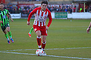 Josh Windass of Accrington Stanley FC during the Sky Bet League 2 play-off second leg match between Accrington Stanley and AFC Wimbledon at the Fraser Eagle Stadium, Accrington, England on 18 May 2016. Photo by Pete Burns.