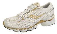 gold and white running shoe photographed on a white background