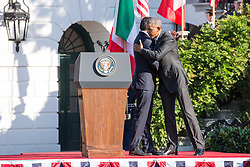 October 18, 2016 - Washington, DC, United States - On the South Lawn  of the White House in Washington, D.C., U.S., on Tuesday, Oct. 18, 2016., (l-r), Italian Prime Minister Matteo Renzi hugs President Barack Obama, after speaking at the Official State Visit. This was the last Official State Visit for the Obama administration. (Credit Image: © Cheriss May/NurPhoto via ZUMA Press)
