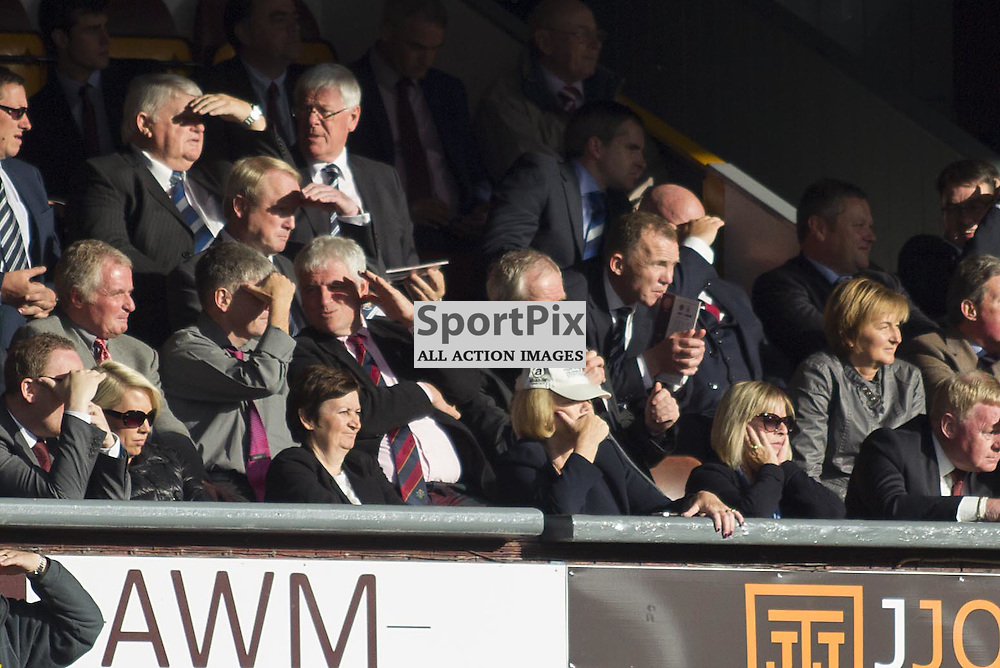 Hearts owner Ann Budge (centre bottom) sporting a cap during the Ladbrokes Scottish Premiership match between Heart of Midlothian FC and Kilmarnock FC at Tynecastle Stadium on October 3, 2015 in Edinburgh, Scotland. Photo by Jonathan Faulds/SportPix