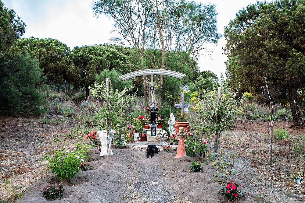 20 May 2017, Boscotrecase, Naples Italy - A statue of Santa Rita da Cascia in a field on the Vesuvius. The relationship between the population and the volcano is combined by a great faith towards the patron saints.