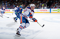 PENTICTON, CANADA - SEPTEMBER 11: Luke Coleman #70 of Edmonton Oilers skates against the Vancouver Canucks on September 11, 2017 at the South Okanagan Event Centre in Penticton, British Columbia, Canada.  (Photo by Marissa Baecker/Shoot the Breeze)  *** Local Caption ***