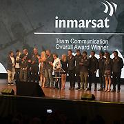 NLD/Scheveningen/20180630 - Koning bij Award Diner Volvo Ocean Race, Inmarsat medewerkers verantwoordelijk voor alle communicatie tijdens de race