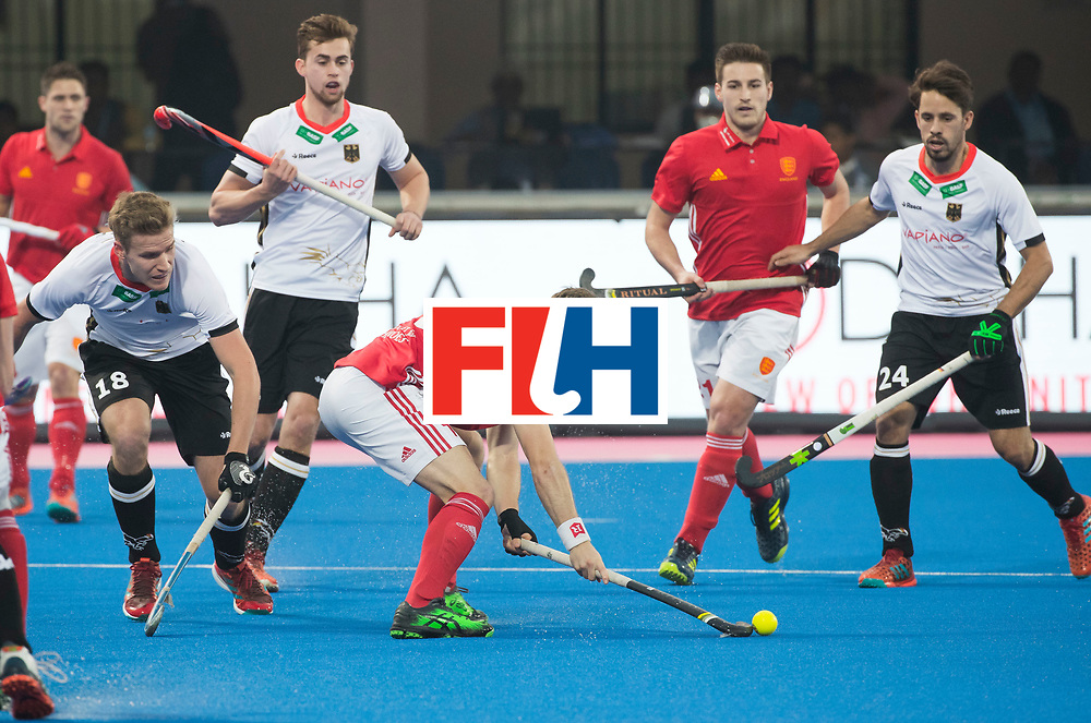 BHUBANESWAR - The Odisha Men's Hockey World League Final . Match ID 01 . David Goodfield (Eng)  . left Ferdinand Weinke (Ger) and right Benedikt Fuerk (Ger) WORLDSPORTPICS COPYRIGHT  KOEN SUYK