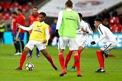 Raheem Sterling of England passes the ball in the warm up - Mandatory by-line: Robbie Stephenson/JMP - 15/11/2016 - FOOTBALL - Wembley Stadium - London, United Kingdom - England v Spain - International Friendly