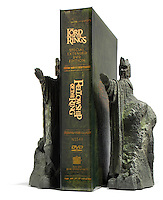 Lord of the Rings DVD box set with bookends photographed on a white background.