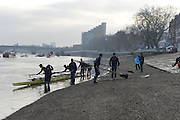 LONDON, ENGLAND - Thursday  13/12/2012 : Oxford University crew, Hurricane, prepare to boat, from Putney Hard, for the annual Varsity trial 8's for The BNY Melon University Boat Race over the Championship Course [Putney to Mortlake]. The River Thames, England. (Mandatory Credit/ Peter  Spurrier/Intersport Images)