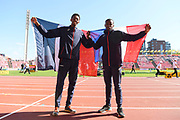 Jonathan Seremes (FRA) win the Bronze Medal and Martin Lamou (FRA) win the Silver Medal in Triple Jump Men during the IAAF World U20 Championships 2018 at Tampere in Finland, Day 5, on July 14, 2018 - Photo Julien Crosnier / KMSP / ProSportsImages / DPPI