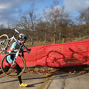 Travis Livermon tackles the stairway during the Cyclo-Cross, Supercross Cup 2013 UCI Weekend at the Anthony Wayne Recreation Area, Stony Point, New York. USA. 24th November 2013. Photo Tim Clayton