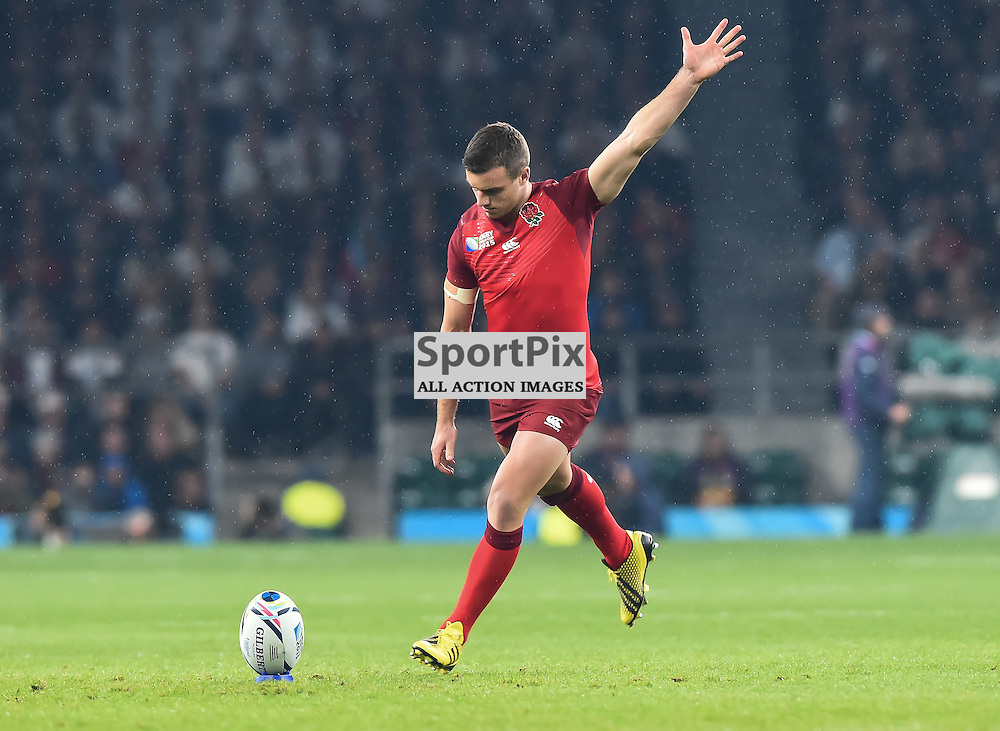 George Ford runs up to kick the first points of the 2015 Rugby World Cup (c) Simon Kimber | SportPix.org.uk