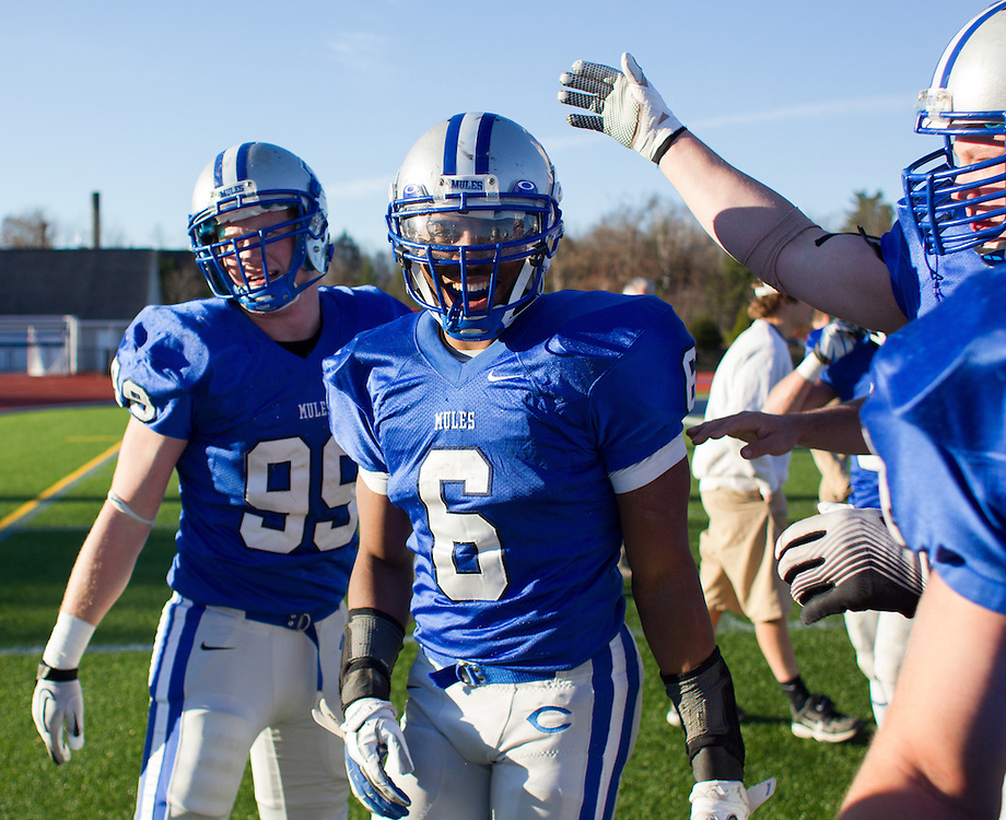 Derrick Beasley of Colby College after the end of a NCAA Division III college football game against Bowdoin College at Seaverns Field at Harold Alfond Stadium, Saturday Nov. 10, 2012 in Waterville, ME. (Dustin Satloff/Colby College Athletics)