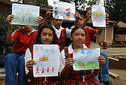 Atanasio Girardot School, Girargota, Antioquia, Colombia.<br /> This public school of 1,530 primary and secondary students has, like other schools in the province, a curriculum which includes classes and projects focussing on themes of coexistence, peace and nonviolence.<br /> Members of the 8th class students (12-13yr olds) in their drawing class in which their assignment is to draw &quot;How do I dream of Colombia in Peace&quot;.