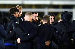 Tom Dunn and Freddie Burns of Bath Rugby look on in a pre-match huddle - Mandatory byline: Patrick Khachfe/JMP - 07966 386802 - 06/12/2019 - RUGBY UNION - The Recreation Ground - Bath, England - Bath Rugby v Clermont Auvergne - Heineken Champions Cup