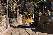 The Santa Teresa bonde historic tram line rides down the hill from the Santa Teresa neighborhood in Rio de Janeiro, Brazil.