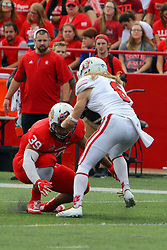 21 October 2017:   Zackary Mathews looks to upset Kody Case during the South Dakota Coyotes at Illinois State Redbirds Football game at Hancock Stadium in Normal IL (Photo by Alan Look)