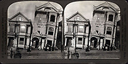 fter the earthquake - frame house tumbled from their foundations, San Francisco Disaster, U.S.A. c1907 July 29. Medium: 1 photographic print on stereo card : stereograph. shows two Victorian houses that have fallen off of their foundations after the San Francisco earthquake in 1906.