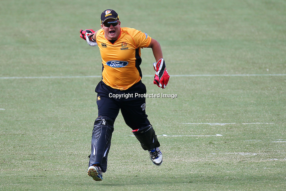 Craig Cachopacelebrates during the Ford Trophy match between the Auckland Aces v Wellington Firebirds. Men's domestic 1 day cricket. Colin Maiden Park, New Zealand. Sunday 29 January 2012. Ella Brockelsby / photosport.co.nz