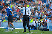 Chris Hughton issues instructions from the touchline during the Sky Bet Championship match between Brighton and Hove Albion and Blackburn Rovers at the American Express Community Stadium, Brighton and Hove, England on 22 August 2015. Photo by Bennett Dean.