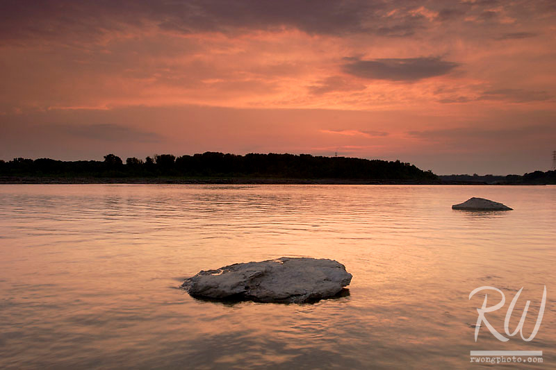 Sunset over the Ohio River, The Falls of the Ohio State Park, Indiana