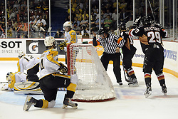 Tyler Shattock of the Calgary Hitmen celebrates a goal against the Brandon Wheat Kings in Game 6 of the 2010 MasterCard Memorial Cup in Brandon, MB on Wednesday May 19, 2010. Photo by Aaron Bell/CHL Images