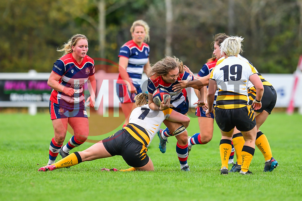 /br19\is tackled by Amy Cokayne of Wasps Ladies - Mandatory by-line: Craig Thomas/JMP - 28/10/2017 - RUGBY - Cleve RFC - Bristol, England - Bristol Ladies v Wasps Ladies - Tyrrells Premier 15s