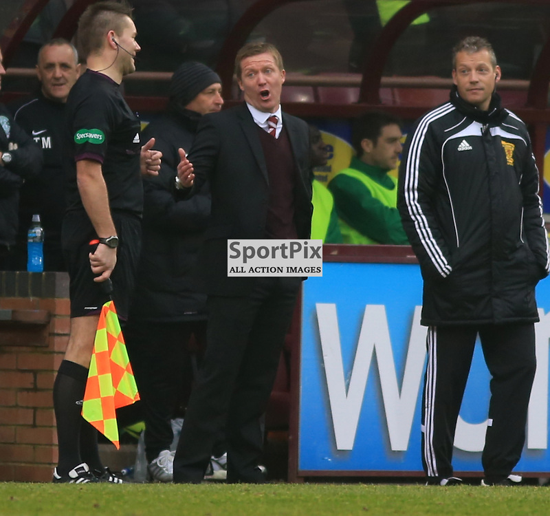Gary Locke argues with the official during the Heart of Midlothian FC  V Hibernian FC  Scottish Premiership  30th  March 2014 ©Edward Linton | SportPix.org.uk