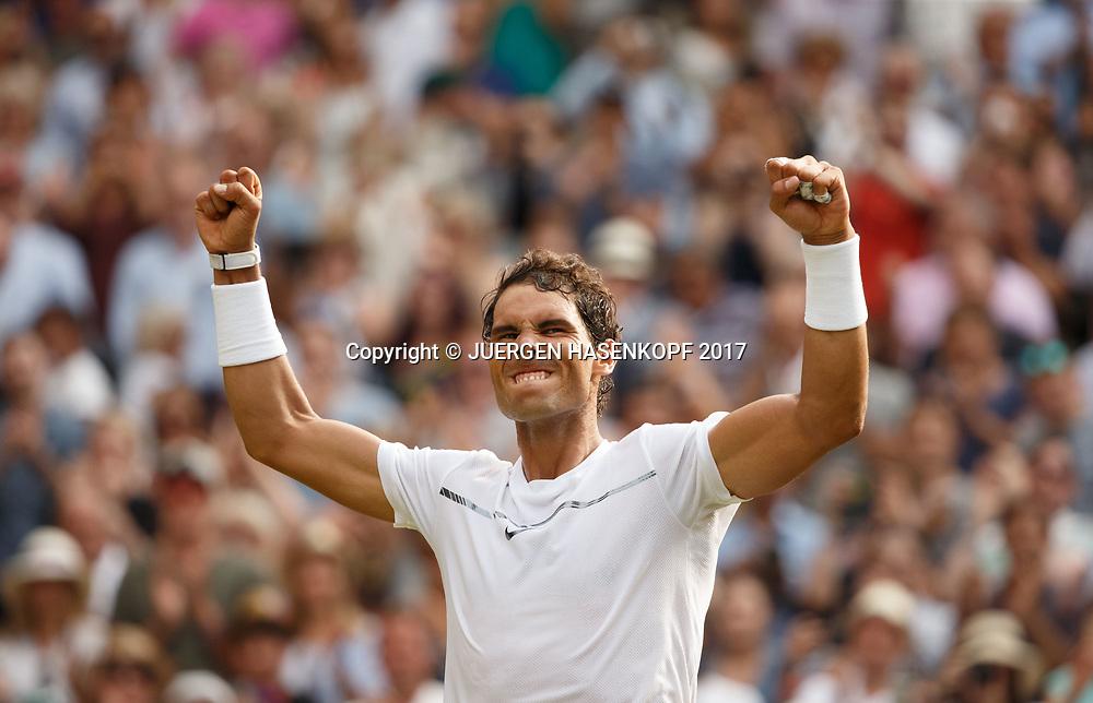RAFAEL NADAL (ESP)  streckt die Arme hoch  und jubelt, nach seinem Sieg,Jubel,Freude,Emotion,Grimasse,<br /> Tennis - Wimbledon 2017 - Grand Slam ITF / ATP / WTA -  AELTC - London -  - Great Britain  - 7 July 2017.