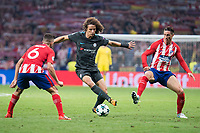 Atletico de Madrid's Koke Resurreccion and Fernando Torres and Chelsea's Marcos Alonso during UEFA Champions League match between Atletico de Madrid and Chelsea at Wanda Metropolitano in Madrid, Spain September 27, 2017. (ALTERPHOTOS/Borja B.Hojas)