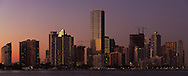 Panoramic view of the downtown Miami, Florida bayfront skyline shortly after sunset.<br />