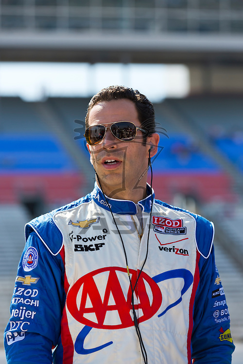 Ft WORTH, TX - JUN 08, 2012:  Helio Castroneves (3) prepares to qualify for the Firestone 550 race at the Texas Motor Speedway in Fort Worth, TX.