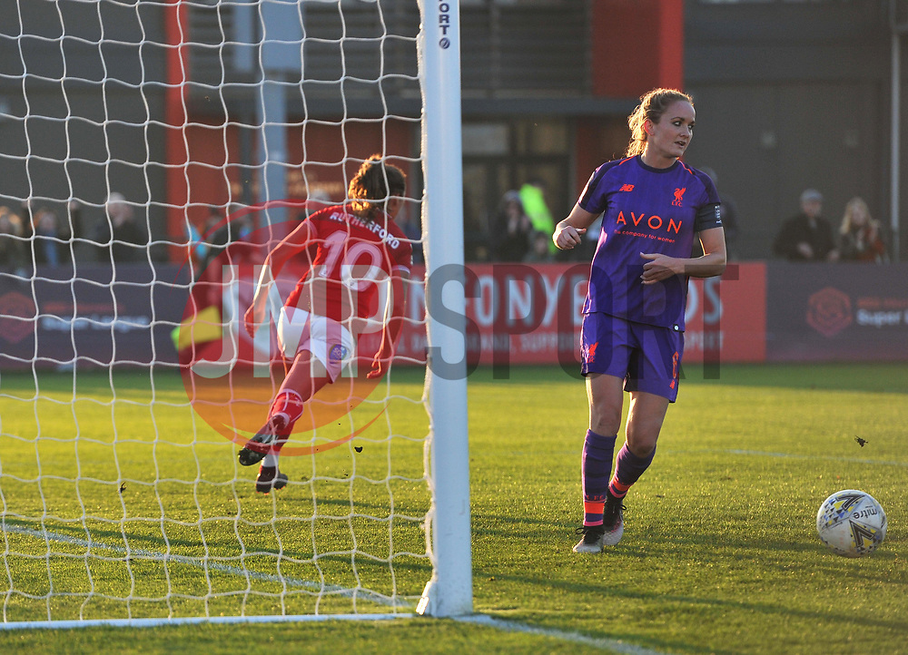 Ella Rutherford of Bristol City wheels away after making it 2-0 against Liverpool FC Women - Mandatory by-line: Paul Knight/JMP - 17/11/2018 - FOOTBALL - Stoke Gifford Stadium - Bristol, England - Bristol City Women v Liverpool Women - FA Women's Super League 1