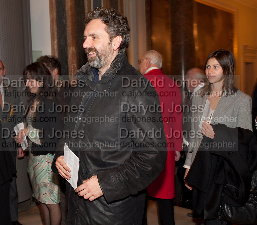 KEITH TYSON, Opening of David Hockney ' A Bigger Picture' Royal Academy. Piccadilly. London. 17 January 2012