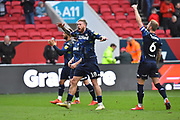 Pontus Jansson (18) of Leeds United and his team mates celebrate the 1-0 win over Bristol City at full time during the EFL Sky Bet Championship match between Bristol City and Leeds United at Ashton Gate, Bristol, England on 9 March 2019.