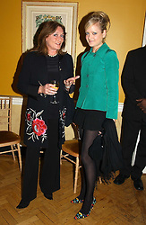 Left to right, LEONORA, COUNTESS OF LICHFIELD and her daughter LADY ELOISE ANSON at a private view of jewellery designed and made by Luis Miguel Howard held at 30 Pavillion Road, London on 27th October 2004.<br />