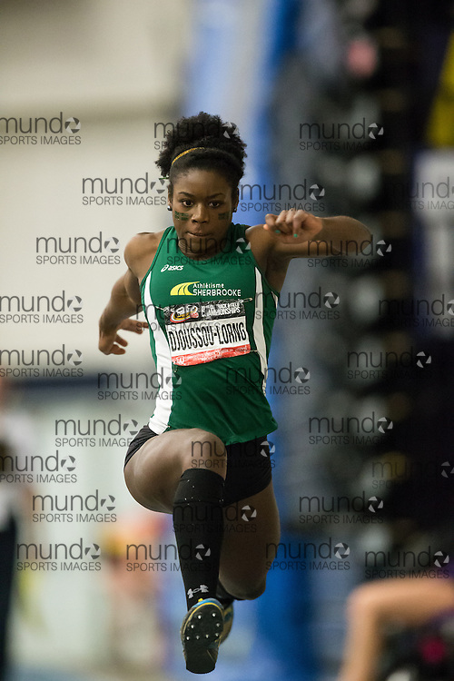 Windsor, Ontario ---2015-03-14--- Fr&eacute;d&eacute;rique Djoussou-Lorng of Sherbrooke competes in the triple jump at the 2015 CIS Track and Field Championships in Windsor, Ontario, March 14, 2015.<br /> GEOFF ROBINS/ Mundo Sport Images