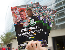 DUBLIN, REPUBLIC OF IRELAND - Wednesday, May 14, 2014: Official programmes on sale before a postseason friendly match between Liverpool and Shamrock Rovers at Lansdowne Road. (Pic by David Rawcliffe/Propaganda)