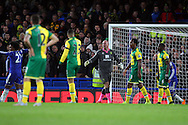 The Norwich players look dejected as Diego Costa of Chelsea celebrates scoring what turns out to be the winning goal during the Barclays Premier League match at Stamford Bridge, London<br /> Picture by Paul Chesterton/Focus Images Ltd +44 7904 640267<br /> 21/11/2015
