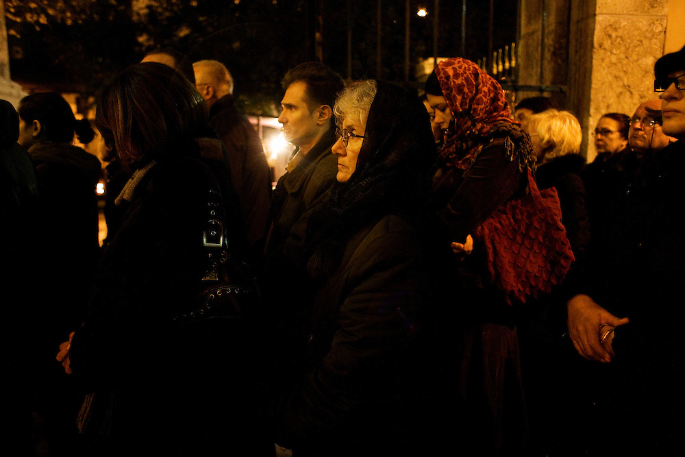 Mourners of Serbian Orthodox Church Patriarch Pavle in Belgrade. Pavle is laying in state at the Cathedral Church of St. Michael the Archangel in the center of the Serbian capitol during three days of national mourning.