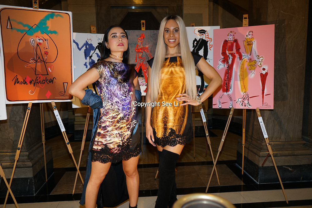 Freemasons Hall, London, England, UK. 15th September 2017. Camilla Destiny (R) Calista Kazuko (L) singer/songwriter attends Michaela Frankova showcases latest collection at FASHION SCOUT SS18.