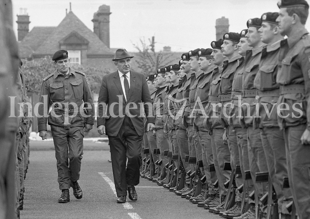 Minister for Defence Patrick Cooney inspects the Guard of Honour of the 58th Infantry Battalion UNIFIL at McKee Barracks that are off to the Lebanon on a Peacekeeping Mission, 16/10/1985 (Part of the Independent Newspapers Ireland/NLI Collection).