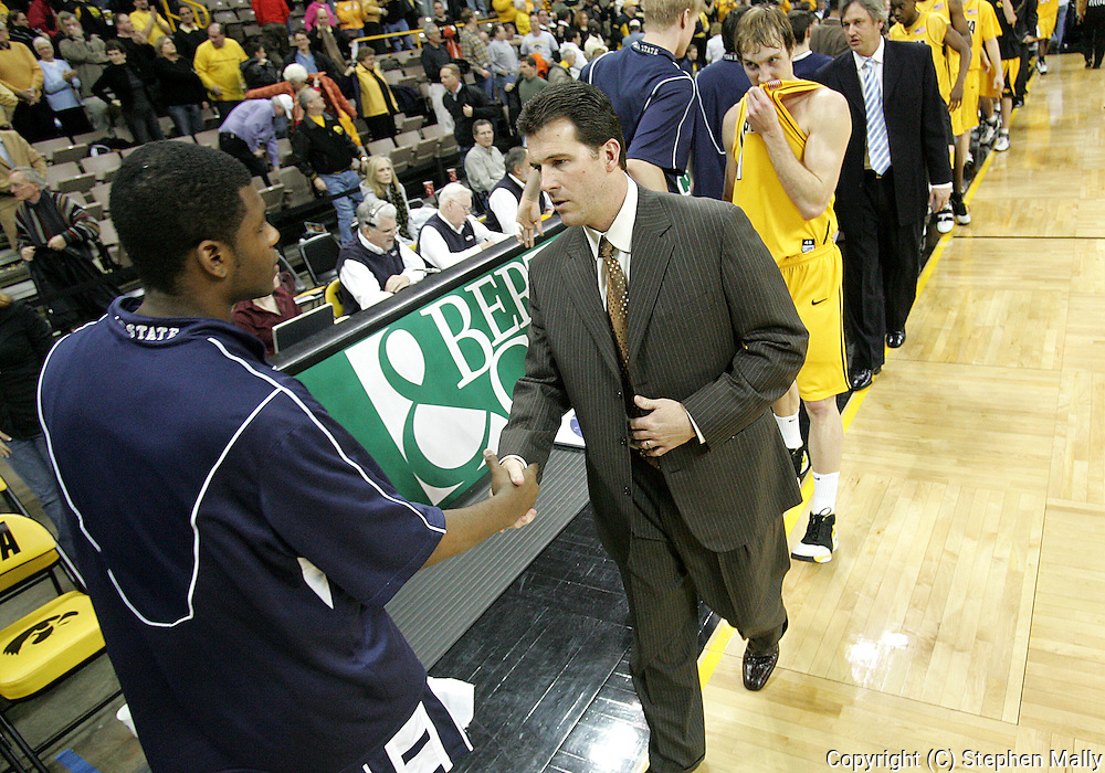 24 JANUARY 2007: Iowa head coach Steve Alford after Iowa's 79-63 win over Penn State at Carver-Hawkeye Arena in Iowa City, Iowa on January 24, 2007.