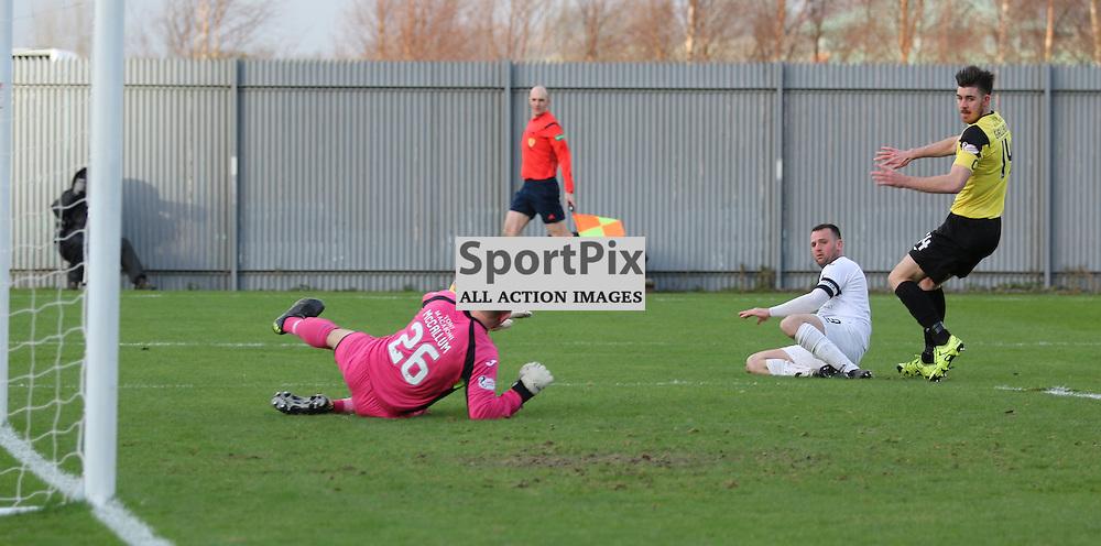 Garry Fleming tries a shot during the  Dumbarton v Livingston  Scottish Championship 30 January 2016<br /> <br /> (c) Andy Scott | SportPix.org.uk