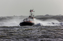 © Licensed to London News Pictures. 03/01/2018. Penrith, UK. A Newhaven Port Authority pilot struggles through rough water as Storm Eleanor brings gale force winds of up to 100mph to parts of the UK. Photo credit: Alan Fraser/LNP