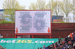 STOKE-ON-TRENT, ENGLAND - Saturday, April 30, 2016: Stoke City pay tribute to the 96 victims of the Hillsborough stadium disaster, in the week a two-year ling inquest returned a verdict of unlawful killing, before the FA Premier League match against Sunderland at the Britannia Stadium. (Pic by David Rawcliffe/Propaganda)