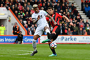 Patrick van Aanholt (3) of Crystal Palace is tackled by Charlie Daniels (11) of AFC Bournemouth during the Premier League match between Bournemouth and Crystal Palace at the Vitality Stadium, Bournemouth, England on 7 April 2018. Picture by Graham Hunt.